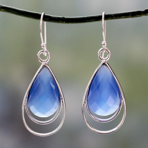 Artisan Designed Blue Chalcedony Hook Earrings from India 'Delhi Glam'