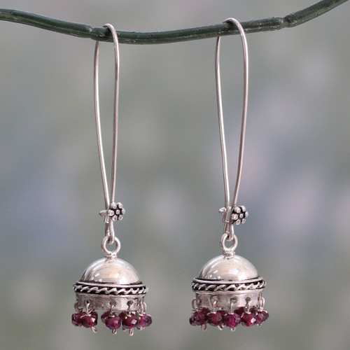 Indian Style Garnet and Sterling Silver Earrings 'Grand Tradition'