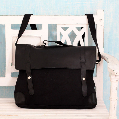 Multi-Pocket Black Leather Tote with Leather Trim 'Efficient Black'