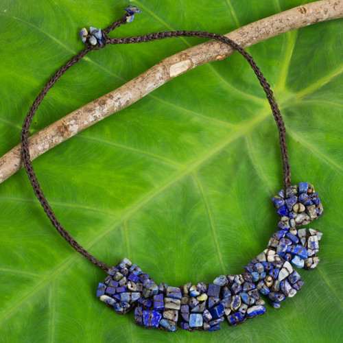 Thai Crocheted Cord Necklace with Lapis Lazuli Chips 'A Sense of Nature'
