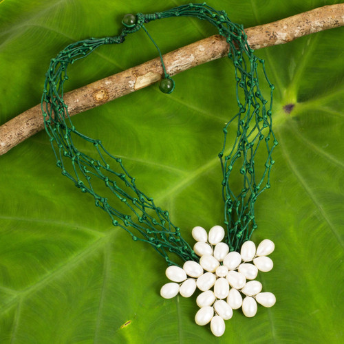 Cultured Pearl Flower Pendant Necklace on Green Cords 'Blossoming Vine'