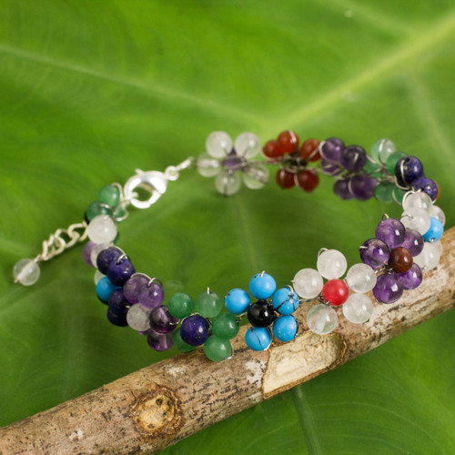Multicolored Gemstone Bead Bracelet with Floral Motif 'Rainbow Blooms'