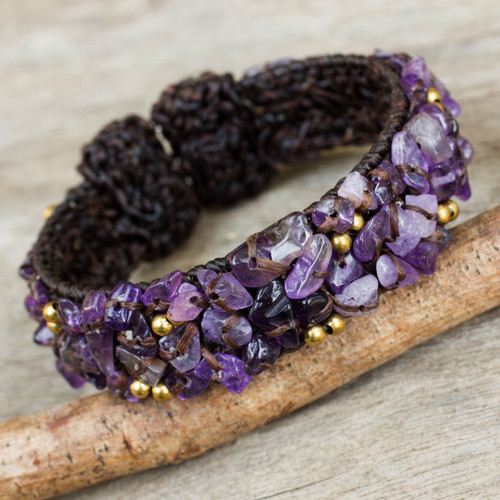 Brown Crocheted Cuff Bracelet with Amethyst Beading 'Violet Twilight'