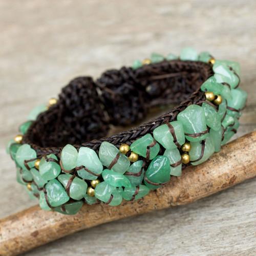 Handcrafted Green Quartz Crocheted Cuff Bracelet 'Woodland Morning'