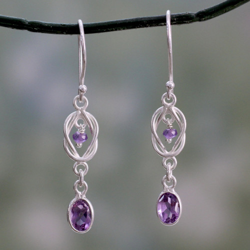 India Artisan Crafted Amethyst and Silver Earrings 'Violet Knot'