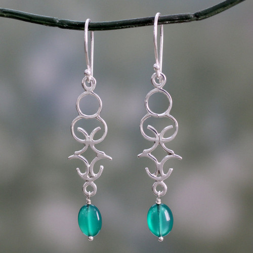 Polished Silver Dangle Earrings with Green Onyx Beads 'Forest Trellis'