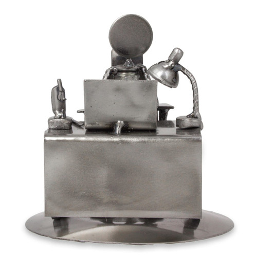 Upcycled Metal and Auto Parts Sculpture from Mexico 'Hard-Working Executive'