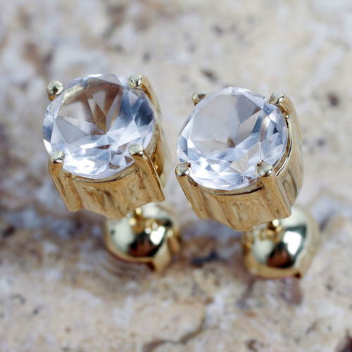 Andean Handcrafted Gold Vermeil Earrings with Crystal Quartz 'Touch of Radiance'