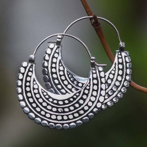 Artisan Crafted Sterling Silver Hoop Style Earrings 'Moon Sliver'