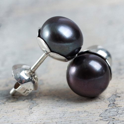 Handcrafted Black Cultured Pearl Stud Earrings 'Black Nascent Flower'