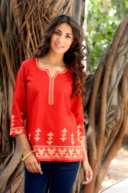 Red Cotton Tunic for Women with Printed Accents 'Geometric Brilliance'