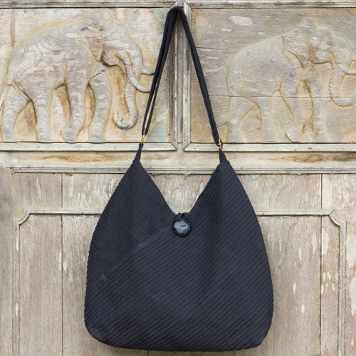 Cotton Hobo Shoulder Bag with Coin Purse and Multi Pockets 'Surreal Black'