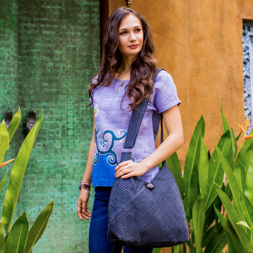 Grey Hobo Shoulder Bag with Coin Purse and Multi Pockets 'Surreal Grey'