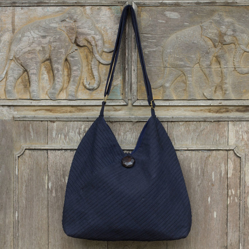 Navy Blue Cotton Hobo Bag with Coin Purse and Multi Pockets 'Surreal Blue'