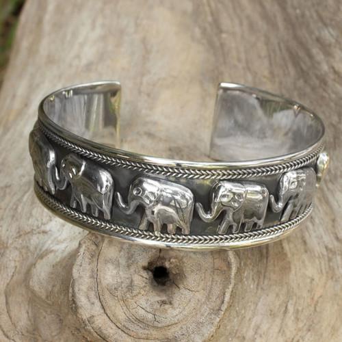 Artisan Crafted Sterling Silver Elephant Cuff Bracelet 'Grand Elephant Parade'