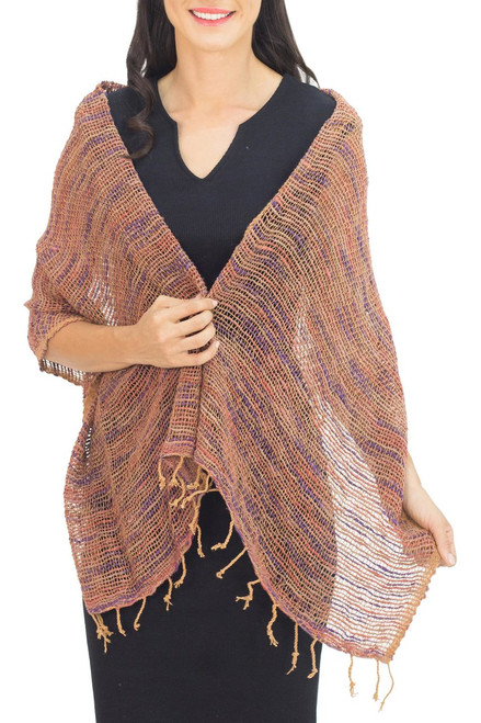 Hand Spun Cotton Shawl Wrap in Brown Purple and Pink 'Breeze of Brown Purple'
