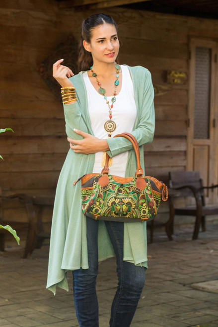 Thai Hill Tribe Embroidered Leather Accent Handbag 'Mandarin Green'