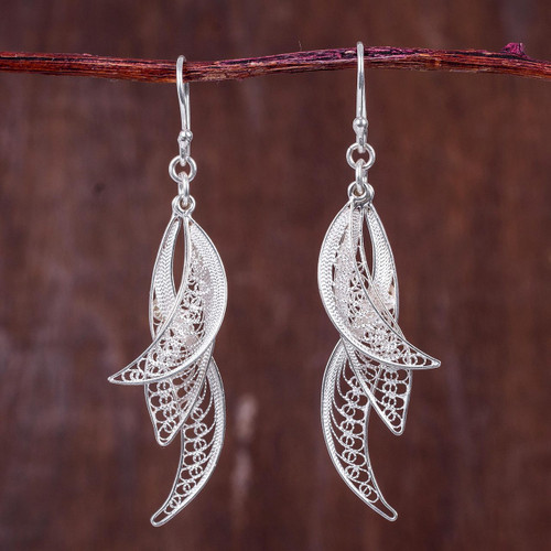 Filigree Leaves in Hand Crafted Sterling Silver Earrings 'Windswept'