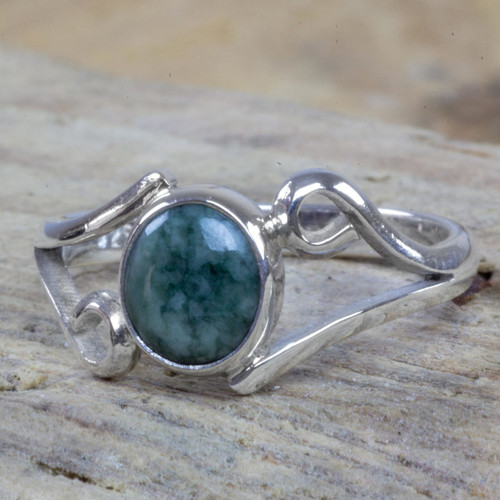 Guatemalan Jade on Sterling Silver Cocktail Ring 'Maya Symmetry'