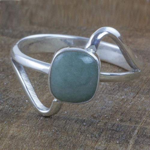 Modern Sterling Silver Ring with Guatemalan Jade 'Maya Abstract'