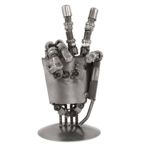 Mexico Handcrafted Recycled Metal Sculpture 'Rustic Robot Hand'