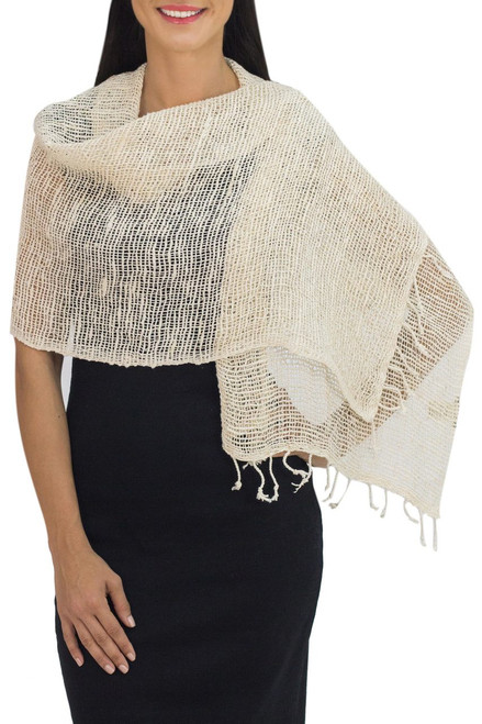 Natural Cotton Hand Woven Shawl Wrap from Thailand 'Breeze of Nature'