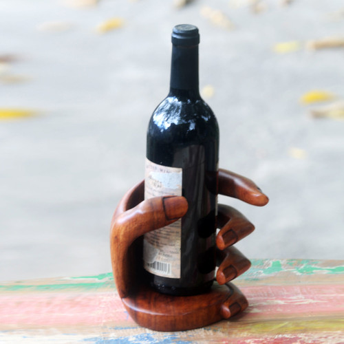 Balinese Signed Hand Carved Wood Wine Bottle Holder 'Hold Me'