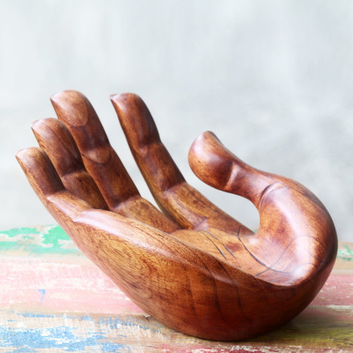 Signed Handcarved Wood Hand Sculpture from Bali 'Praise and Gratitude'