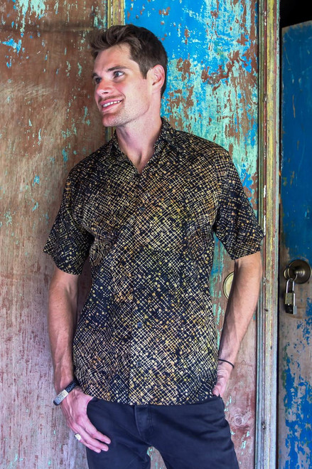 Hand Dyed Batik Short Sleeve Shirt for Men from Bali 'Night Starfield'