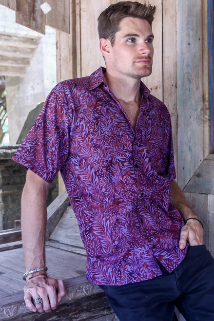 Purple and Magenta Cotton Batik Shirt for Men from Bali 'Purple Jungle'