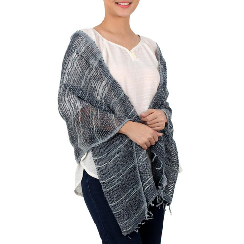 Blue Gray Open Weave Cotton Shawl Handmade in Thailand 'Winter Melange'