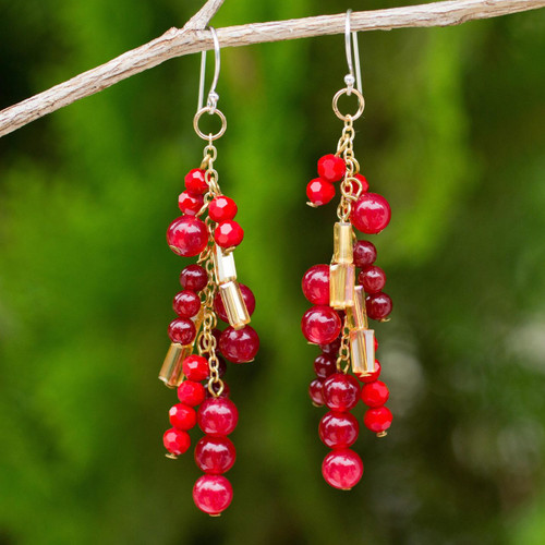 Beaded Red Quartz Earrings on 24k Gold Plated Chains 'Brilliant Cascade'