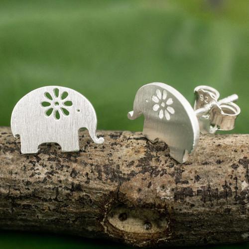 Handmade Elephant Stud Earrings in Sterling Silver 'Blooming Elephants'