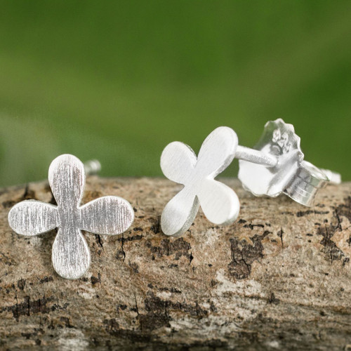 Brushed Sterling Silver Stud Earrings with Clover Motif 'Clover for Luck'