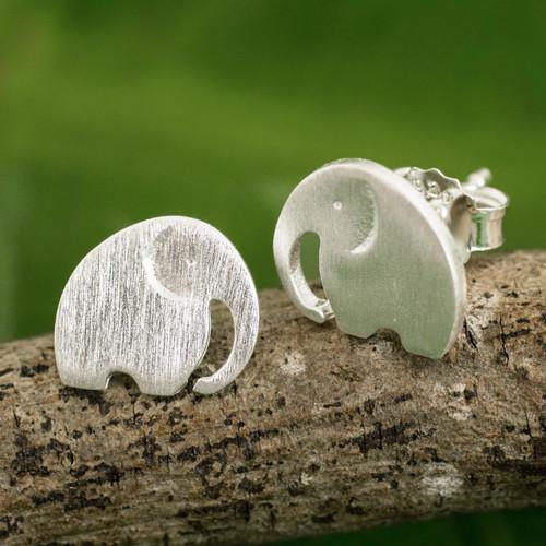 Stud Earrings with Elephant Motif in 925 Sterling Silver 'Elephant Fun'