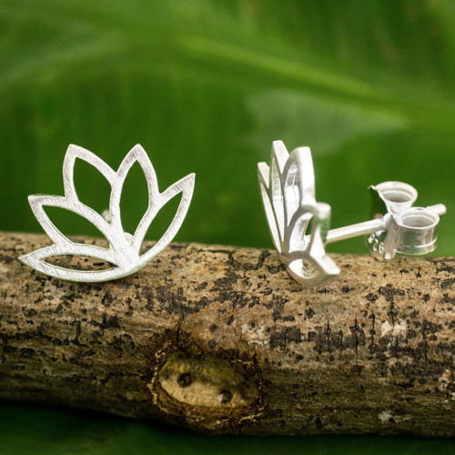 Brushed Sterling Silver Lotus Flower Button Earrings 'Sunrise Lotus'