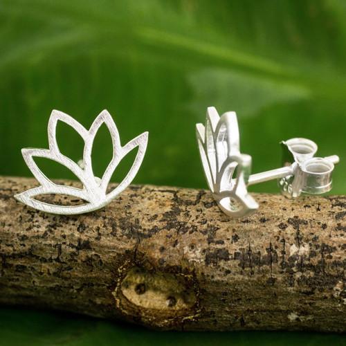 Brushed Sterling Silver Lotus Flower Button Earrings 'Sunrise Lotus'