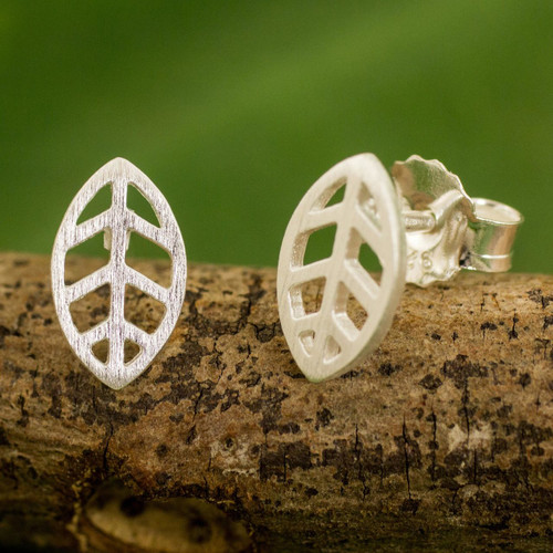 Contemporary Brushed Sterling Silver Leaf Stud Earrings 'Modern Leaf'