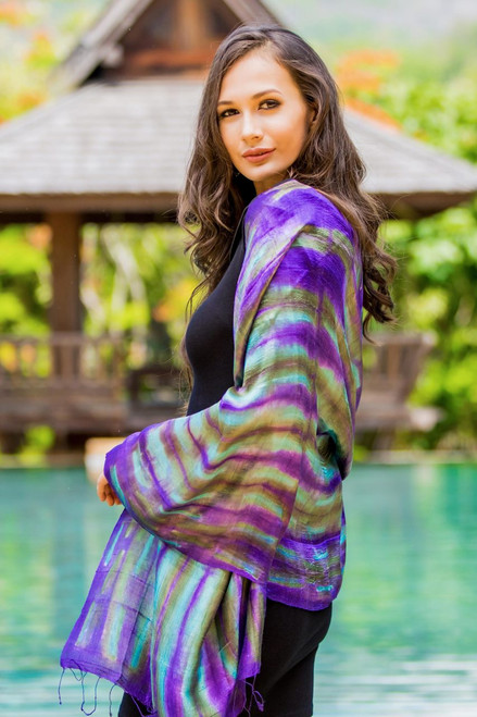 Purple and Green Tie Dyed Silk Shawl from Thailand 'Colorful Thai River'