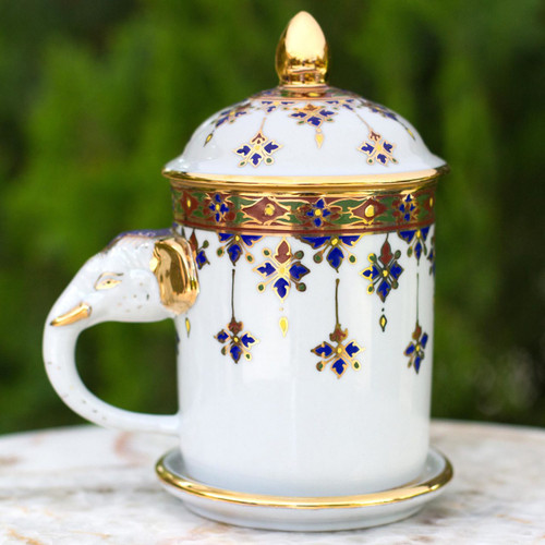 White Porcelain Benjarong Mug and Lid with Gold Application 'Charmed Thai'