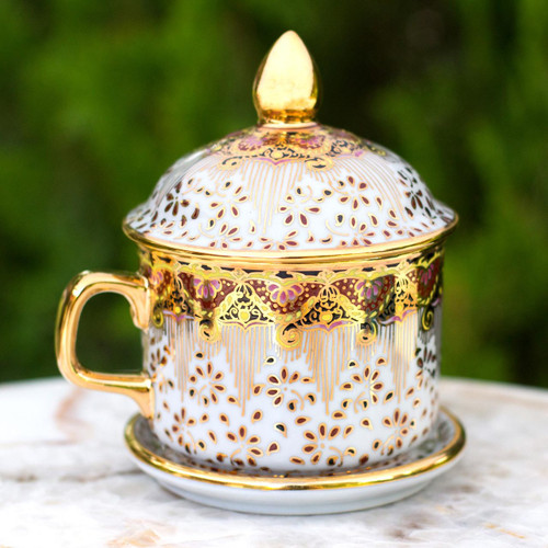 Benjarong White Teacup and Lid with Pink and Gold Flowers 'Thai Celebration'
