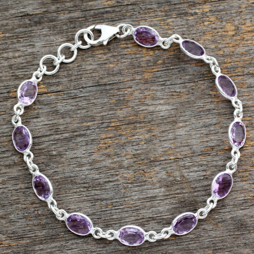 Handcrafted Indian Amethyst Sterling Silver Tennis Bracelet 'Romantic Violet'