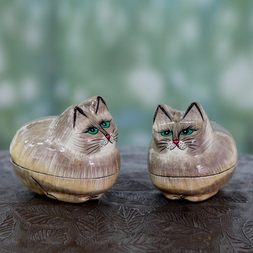 Indian Handcrafted Cat Theme Papier Mache Boxes (Pair) 'Contented Kitties'