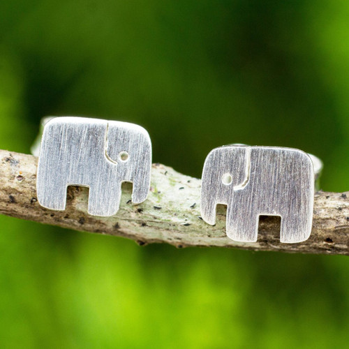Hand Crafted Elephant Stud Earrings in Brushed Silver 'Elephant Couple'