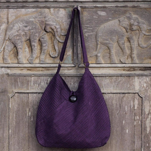 Purple Cotton Hobo Style Handbag with Coin Purse 'Surreal Purple'