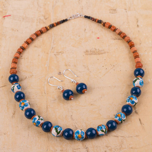 Jewelry Set with Hand Painted Flowers on Ceramic Beads 'Precious Blue'
