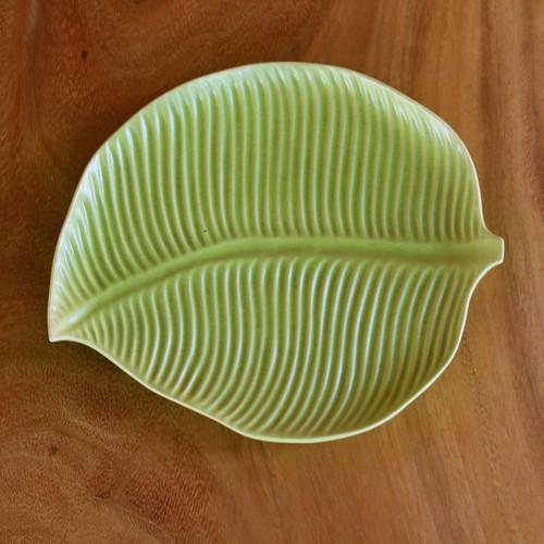 Handmade Ceramic Leaf Plate with Light Green Glaze 'Jungle Banana Leaf'