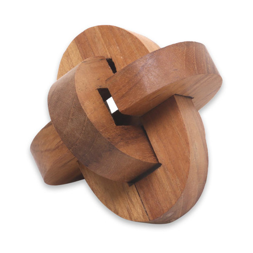 Small Wooden Pub Game Puzzle from Javanese Artisan 'Chain Hook'