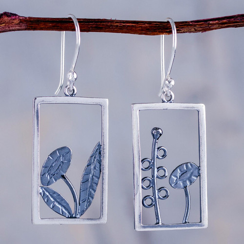 Peru Artisan Crafted Sterling Silver Dangle Earrings 'Flowers in the Window'