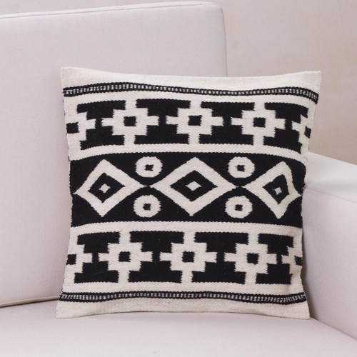 Handwoven Black and White Inca Motif Wool Cushion Cover 'Inca Duality'